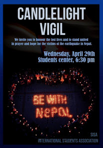 SISA (SNU International Students Associations) held a candlelight vigil on April 29 for Nepal earthquake victims.