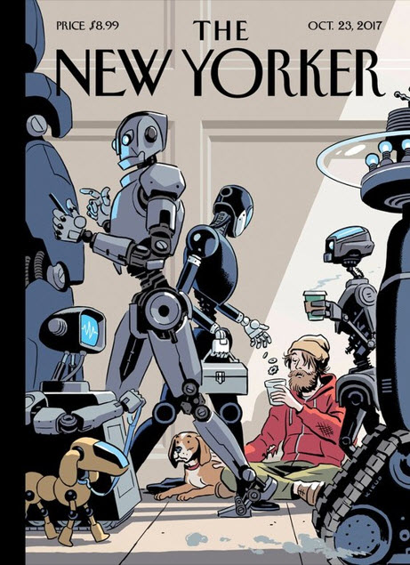 Cover image of the New Yorker illustrates a possible future of AI and human