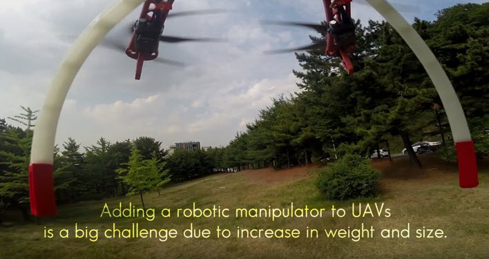 Adding a robotic manipulator to unmanned aerial vehicles is a big challenge because increasing weight and size can be critical to those vehicles